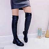 Женские черные ДЕМИ / осень сапоги- ботфорты эко- кожа, фото 5