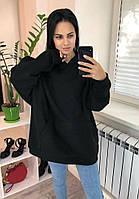 Толстовка ОВЕРСАЙЗ на флисе однотонная женская ЧЕРНАЯ (ПОШТУЧНО), фото 1