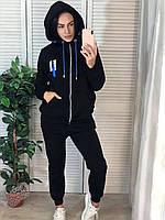 Стильный утепленный спортивный костюм с капюшоном, синий, фото 1