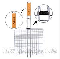 Решетка для гриля 27*24*2,5 см с деревянной ручкой Скаут™ KM-0702