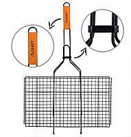 Решетка для гриля 44,5*26*2,5 см с антипригарным покрытием и деревянной ручкой Скаут™ KM-0714