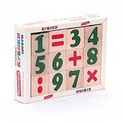 """Кубики """"Цифри та знаки"""" 12 шт, Komarovtoys"""