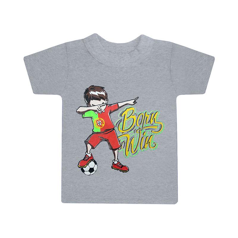 Дитяча однотонна футболка для хлопчика з принтом Born Win кулір