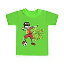 Дитяча однотонна футболка для хлопчика з принтом Born Win кулір, фото 2