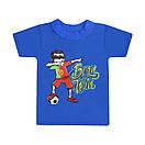 Дитяча однотонна футболка для хлопчика з принтом Born Win кулір, фото 4