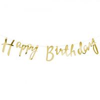 Гирлянда фольгированая Happy Birthday золото, фото 1