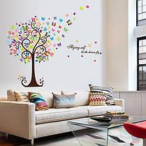"""Наклейки на стены, шкаф, витрину, в офис """"цветущее дерево с бабочками"""" 98см*130см (лист 60*90см), фото 3"""
