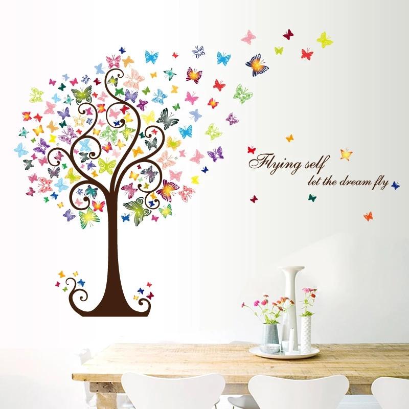 """Наклейки на стены, шкаф, витрину, в офис """"цветущее дерево с бабочками"""" 98см*130см (лист 60*90см)"""