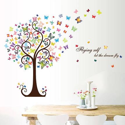 """Наклейки на стены, шкаф, витрину, в офис """"цветущее дерево с бабочками"""" 98см*130см (лист 60*90см), фото 2"""