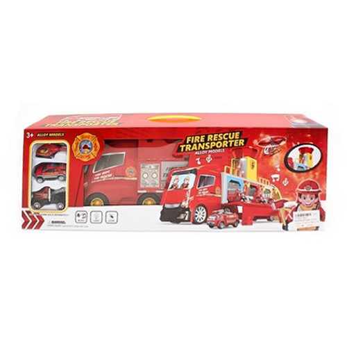 Гараж ZH613 (12шт) пожарн,трейлер-контейнер42см, транспорт3шт,7см,муз,св,бат-таб,в кор, 56-19-10см