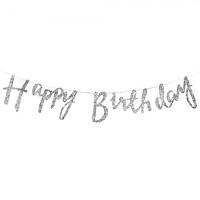 Гирлянда фольгированая Happy Birthday серебро