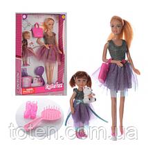 Кукла DEFA 8304 29 см, с дочкой 13 см, сумка, расческа, туфли, мишка, 2 вида,