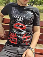 Футболка мужская чёрная плотная с прорезиненным принтом мужская футболка чёрная удлиненная с рисунком M размер