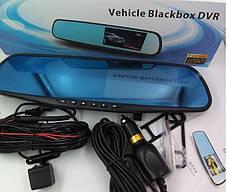 Автомобильный регистратор зеркало Blaсkbox DVR AK47 видеорегистратор с камерой заднего вида, фото 3