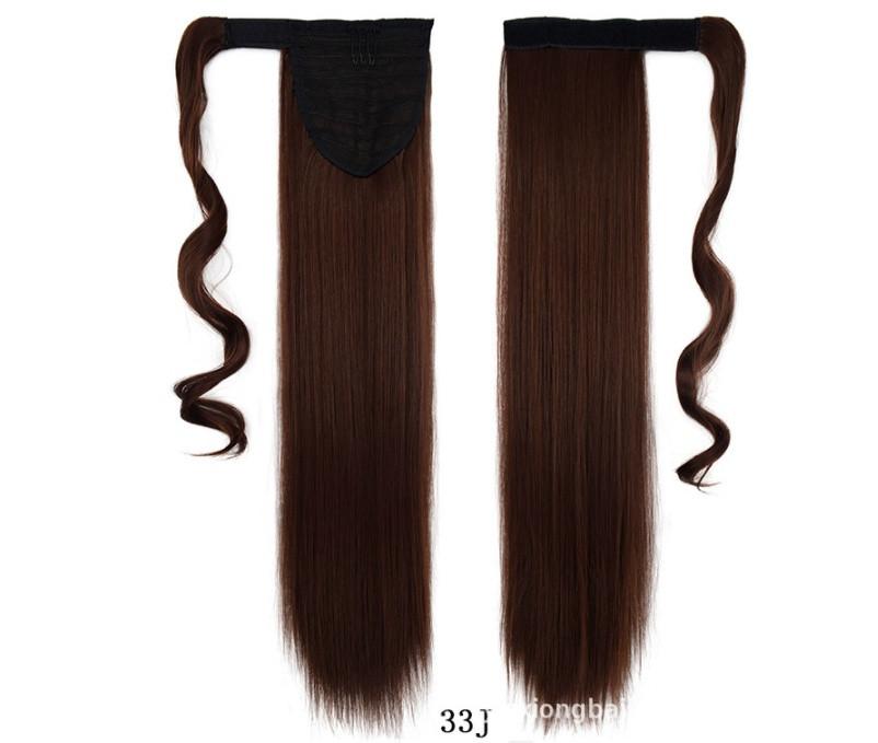 Накладной хвост с термо волос, цвет каштановый 60 см. (с прядью вокруг хвоста)