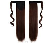 Накладной хвост с термо волос, цвет каштановый 60 см. (с прядью вокруг хвоста), фото 1