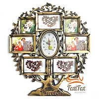 Фоторамка дерево с часами Family на 7 фото