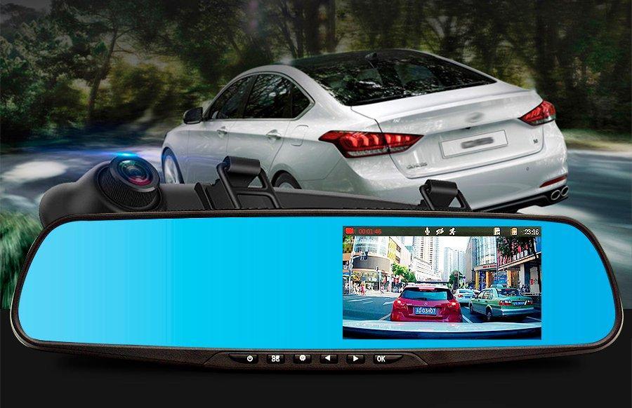 Автомобильный регистратор зеркало Blaсkbox DVR AK47 видеорегистратор с камерой заднего вида