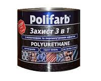 """Эмаль синтетическая POLIFARB """"ЗАХИСТ 3 в 1 ХАММЕР"""", коричнево-шоколадная, для металла и оцинковки, 2,2кг"""