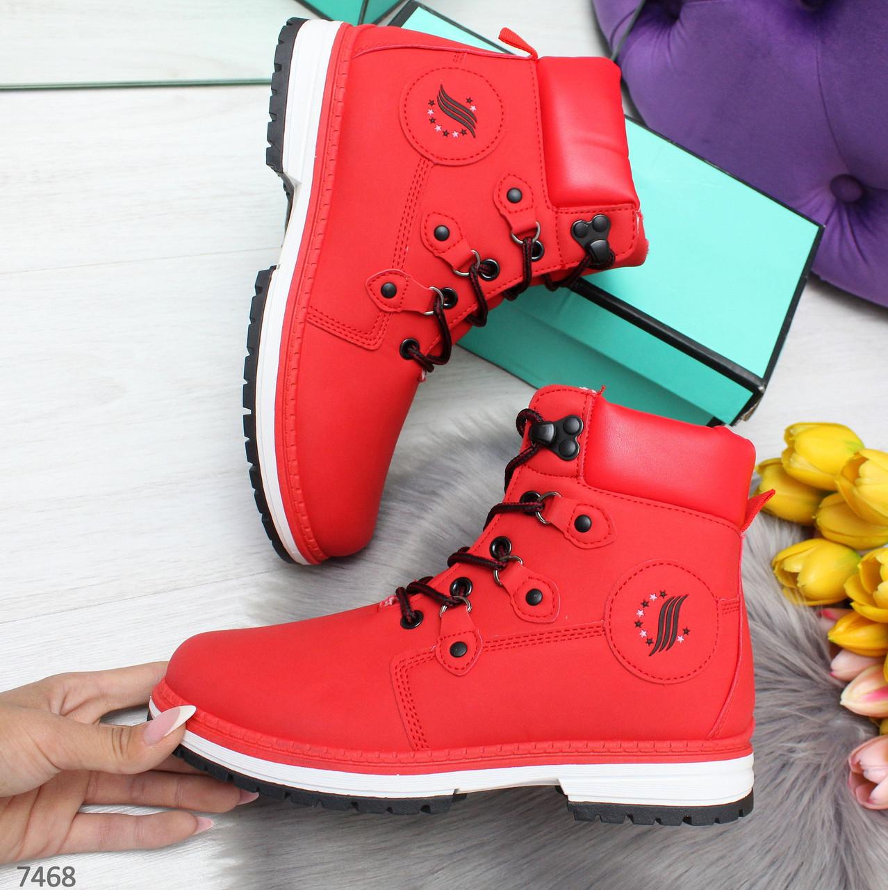 Молодежные красные женские ботинки в спортивном стиле на флисе