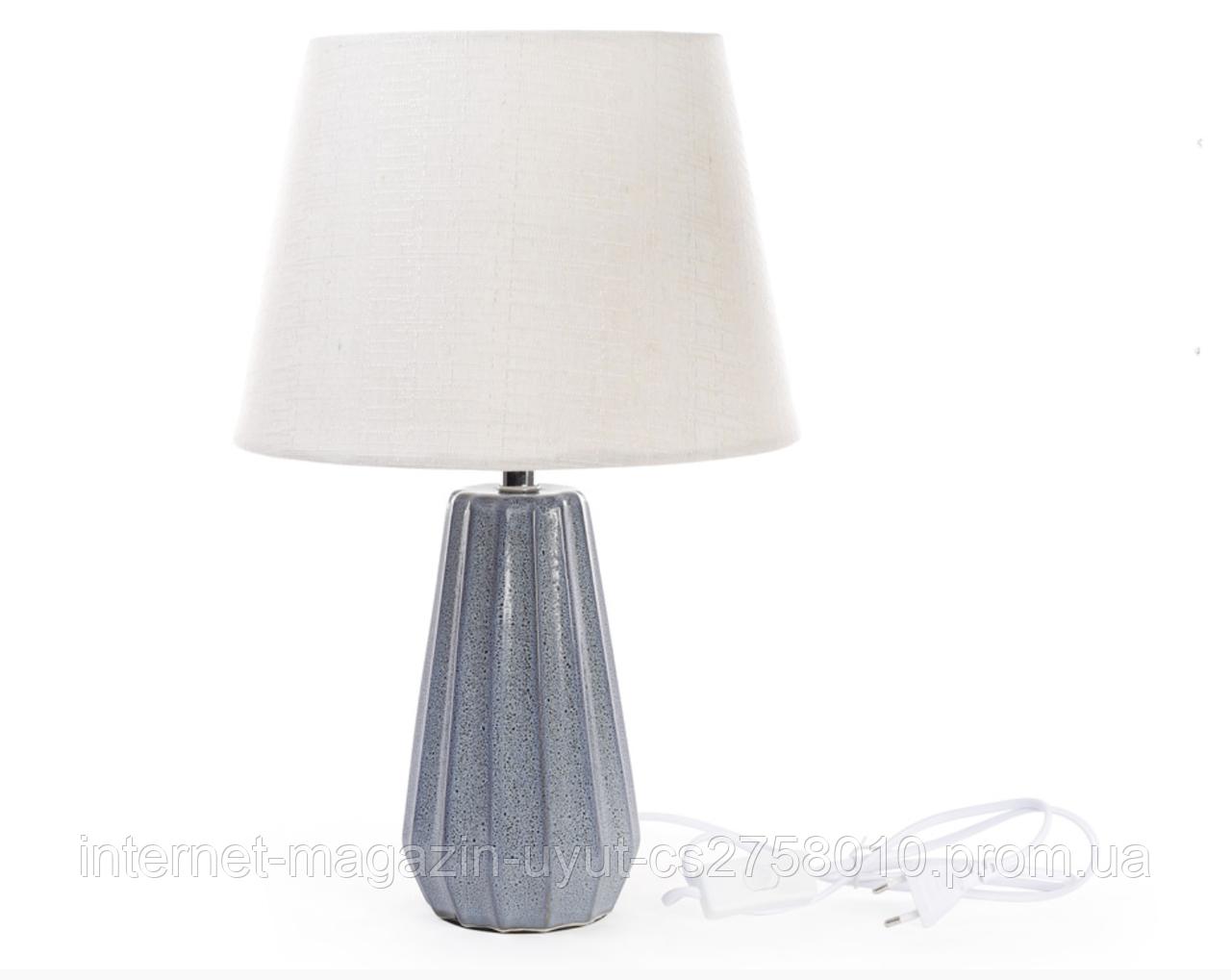 """Настольная лампа """"Лазур"""" с керамическим основанием и тканевым абажуром 44см, синевато-серый"""