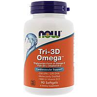 ОРИГИНАЛ! Омега-Tri-3D + витамин D-3 Now Foods для сердечно-сосудистой системы 90 капсул из США