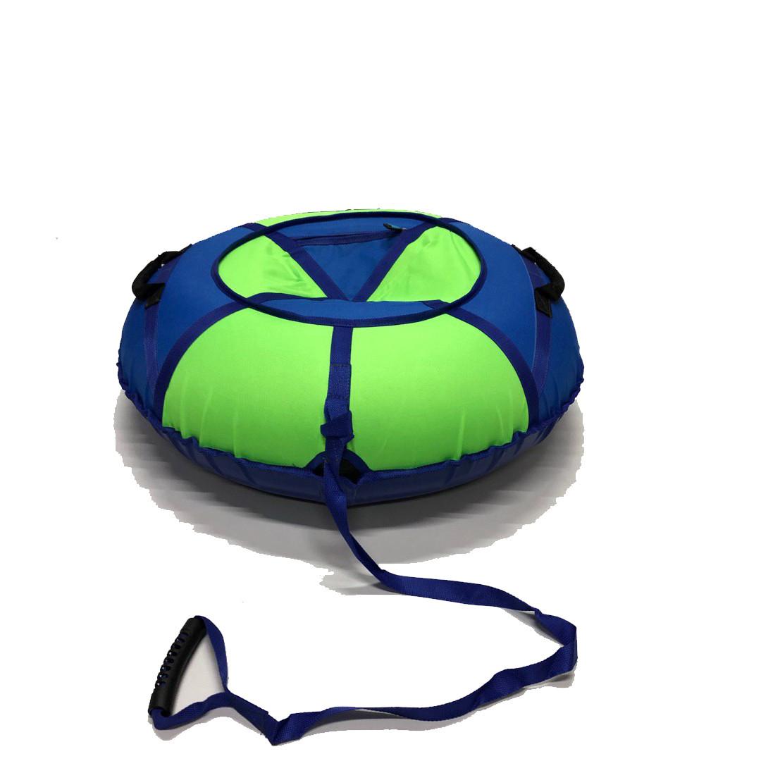 Тюбинг надувные санки ватрушка d 120 см серия Стандарт Салатово - Синего цвета для детей и взрослых