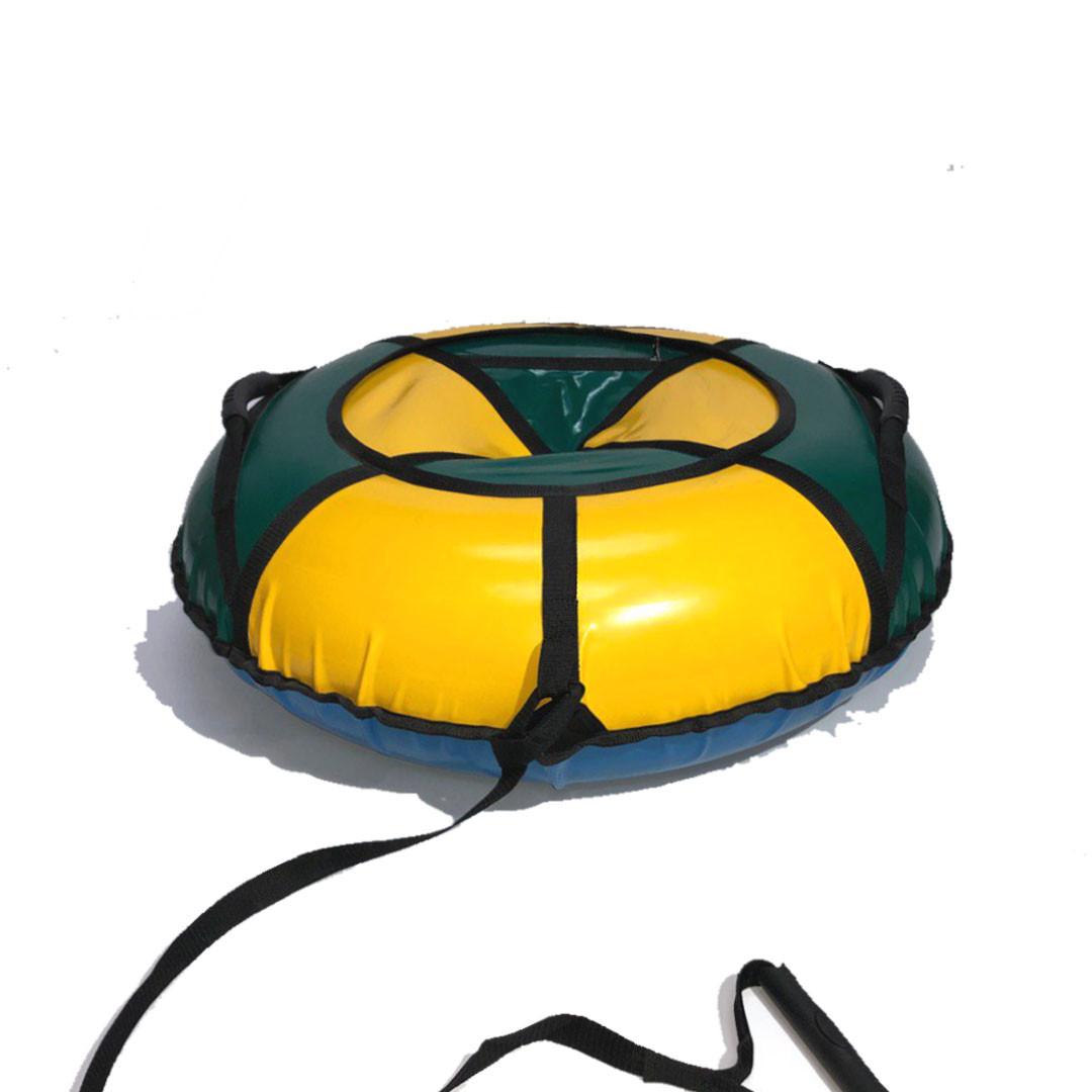 Тюбинг надувные санки ватрушка d 120 см серия Стандарт Зелено - Желтого цвета для детей и взрослых