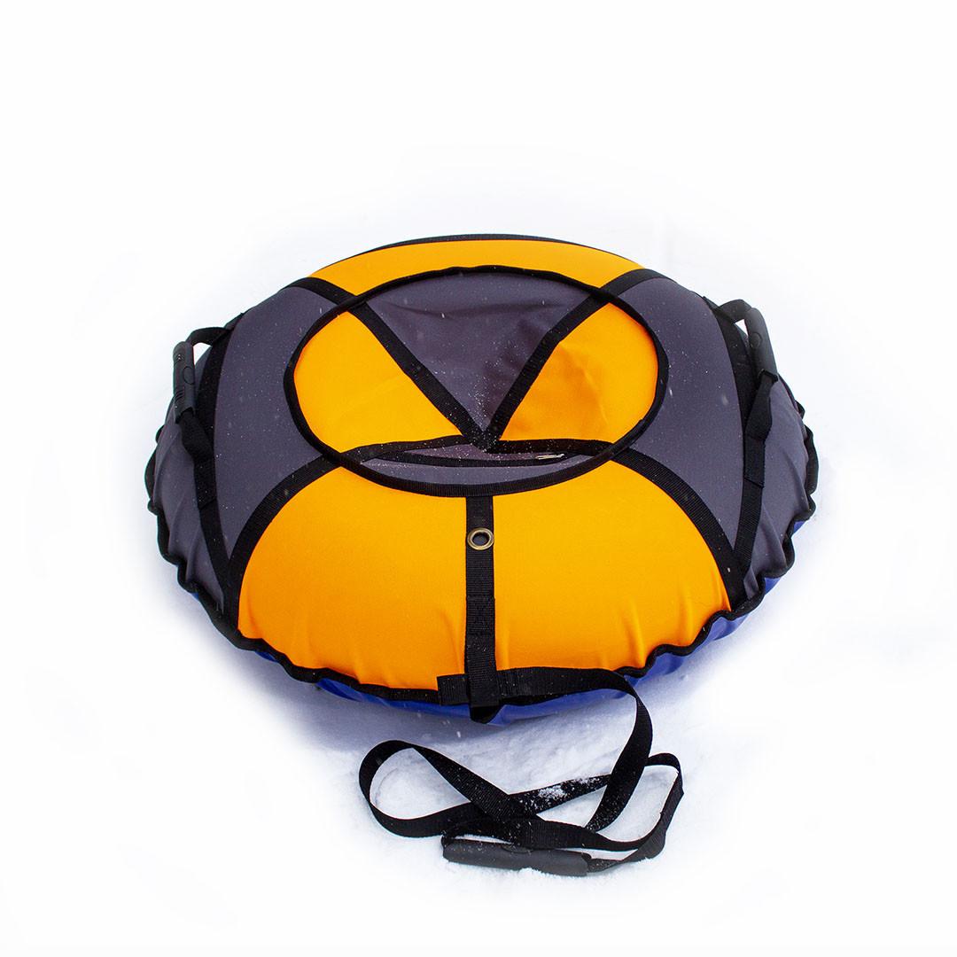 Тюбинг надувные санки ватрушка d 120 см серия Стандарт Оранжево - Серого цвета для детей и взрослых