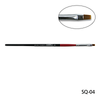 Кисть SQ-04 - №4 для гелевого моделирования (нейлон)