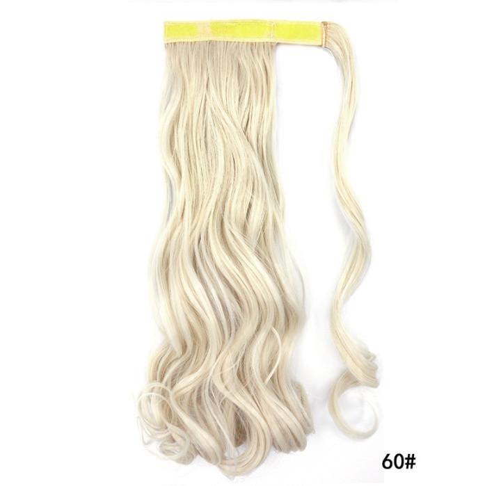 Накладной хвостик с термо волос с локонами холодный блонд (длина колеблется в пределах 50 см.)