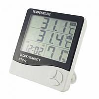 Термометр-Гигрометр Digital Htc-2 Цифровой Термогигрометр Htc-2 Часы Будильник Метеостанция Термометр