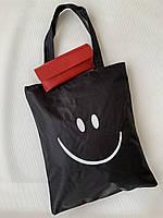 Экосумка шоппер тканевая хлопковая с принтом смайлика Одесса 7 км, фото 1