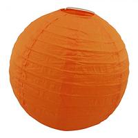 Паперовий підвісний ліхтарик Куля 25см помаранчевий, фото 1