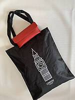 Черная эко сумка шоппер для покупок из ткани коттоновая с принтом Биг Бена Лондон Одесса 7 км, фото 1