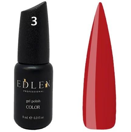 Гель-лак Edlen №3 (классический красный, эмаль), 9 мл