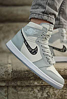 Женские кроссовки в стиле Nike Air Jordan 1 Retro X Dior (white/grey), Найк Аир Джордан Диор (Реплика ААА)