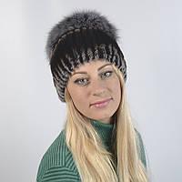 Женская шапка из натурального меха - Опушка, ПЕСЕЦ (код 29-264)