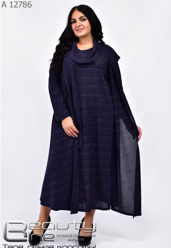 Комплект: платье. жакет и шарфик в большом размере Украина Размеры: 64-66, 68-70