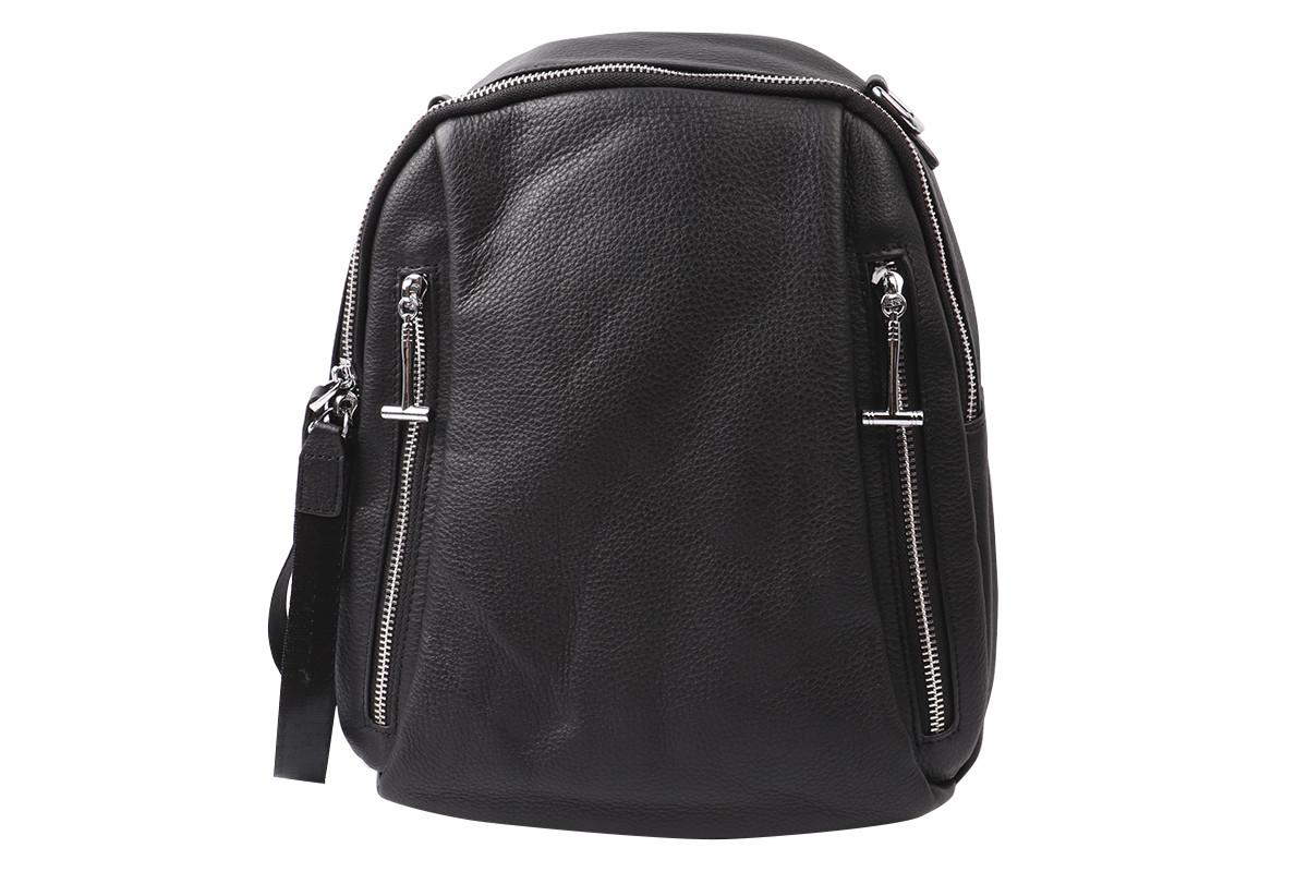 Сумка-рюкзак женская молодежная натуральная кожа, цвет черный