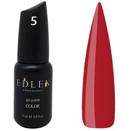 Гель-лак Edlen №5 (насичений червоний, емаль), 9 мл
