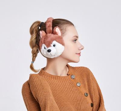 Зимние детские наушники плюшевый волчонок Feine brown