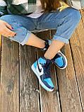 Жіночі кросівки в стилі Nike Air Jordan 1 Retro (blue/white), Найк Аїр Джордан 1 ретро (Репліка ААА), фото 4