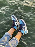 Жіночі кросівки в стилі Nike Air Jordan 1 Retro (blue/white), Найк Аїр Джордан 1 ретро (Репліка ААА), фото 8