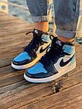Жіночі кросівки в стилі Nike Air Jordan 1 Retro (blue/white), Найк Аїр Джордан 1 ретро (Репліка ААА), фото 2