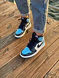 Жіночі кросівки в стилі Nike Air Jordan 1 Retro (blue/white), Найк Аїр Джордан 1 ретро (Репліка ААА), фото 6