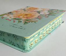 Библия среднего формата (мятная с цветами, кожзам, цветной обрез, индексы, без замка, 14х20), фото 2