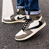 Мужские кроссовки в стиле Nike Air Jordan 1 Retro x Travis Scott (brown/white), Найк Джордан (Реплика ААА), фото 2