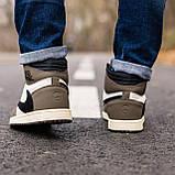 Мужские кроссовки в стиле Nike Air Jordan 1 Retro x Travis Scott (brown/white), Найк Джордан (Реплика ААА), фото 3