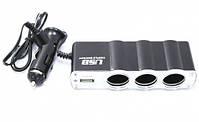 Разветвитель автомобильный тройник WF-0120 с USB, фото 4